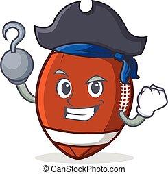 Pirate American football character cartoon