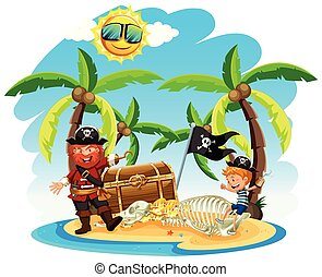 Pirate and a Boy on Island