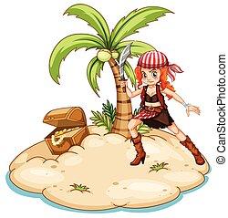 Pirate and island