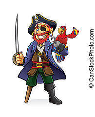 Pirate and Parrot - Pirate was standing holding a drawn...