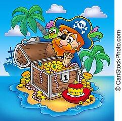 Pirate and treasure - color illustration.