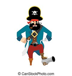 Pirate angry. filibuster evil. buccaneer aggressive. Vector illustration