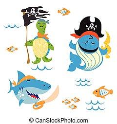 pirate Animals - Set of cute Animals pirate design