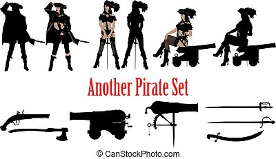 a set of silhouettes of a pirate captain girl in several poses and an additional small set of weapons