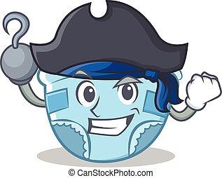 Pirate baby diaper character cartoon