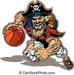 pirate basketball mascot team design for school, college or...