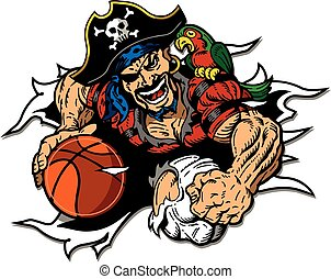pirate basketball player ripping through the background for...