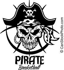 pirate basketball team design with jolly roger skull inside...