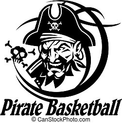 pirate basketball team design with mascot head inside ball for school, college or league