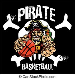 pirate basketball team design with mascot inside skull for school, college or league