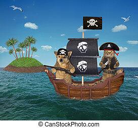 pirate, bateau, 2, chien, chat