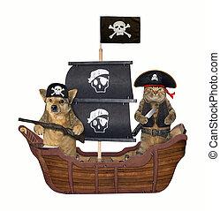 pirate, bateau, 3, chien, chat