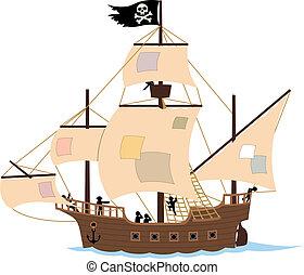 pirate, bateau, blanc
