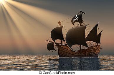 pirate, bateau, dans, rayons, de, les, sun.