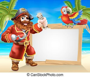 Pirate beach sign - Fun cartoon pirate beach sign...