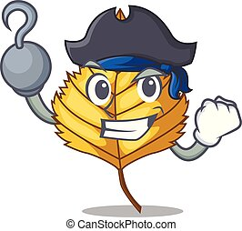 Pirate birch leaf in the mascot shape vector illustration