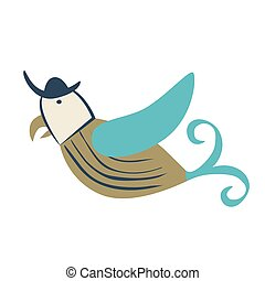 Pirate bird flat color illustration on white