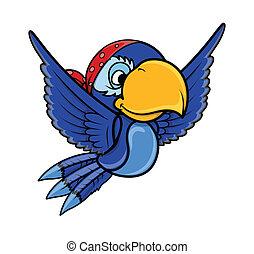 Pirate Blue Parrot - Vector Cartoon