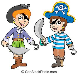 Pirate boy and girl - isolated illustration.