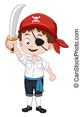 Pirate boy - Vector illustration of pirate boy holding sword