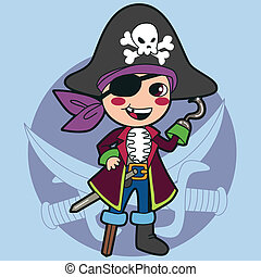 Happy kid in pirate costume for Halloween or Carnival party