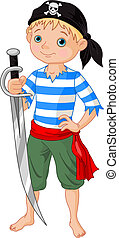 Pirate boy - Illustration of cute pirate boy holding sword