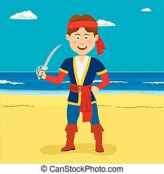 Pirate boy with sword standing at the tropical beach