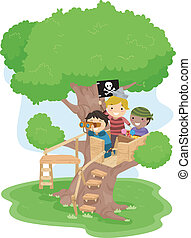 Pirate Boys on a Tree - Illustration of Little Boys playing...