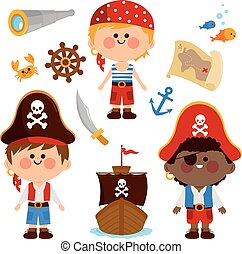 Pirate boys. Vector illustration collection