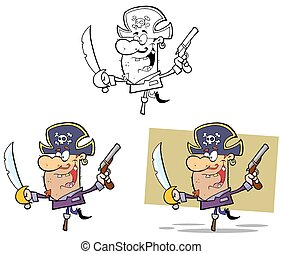 Pirate Brandishing Sword And Gun