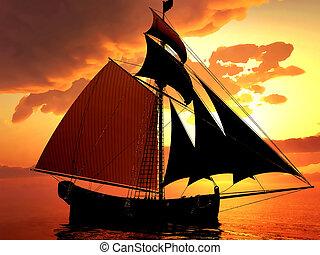 Pirate brigantine out on sea