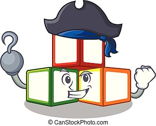 Pirate bright toy block bricks on cartoon