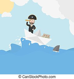 Pirate business man sailing trip in