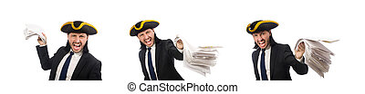 Pirate businessman holding papers isolated on white