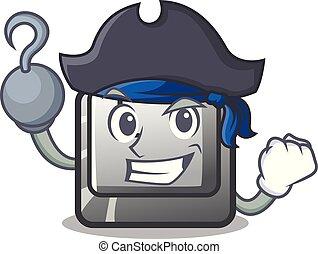 Pirate button M on a keyboard mascot
