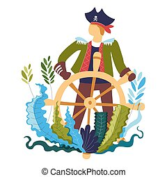 Pirate by wooden steering wheel, captain of ship