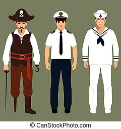pirate, captain and sailor characters, vector cartoon ...