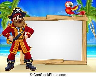 Pirate Captain Beach Sign Cartoon