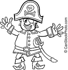 pirate captain cartoon for coloring book - Black and White...