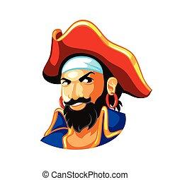 Pirate captain - Cheerful pirate head in three-corner hat