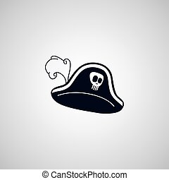 pirate captain hat flat icon theme vector art illustration