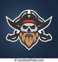 Pirate captain skull and swords.