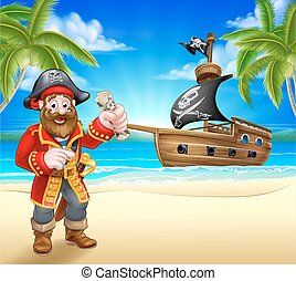Pirate Cartoon Character on Beach