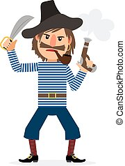 Pirate cartoon character with smoking pipe