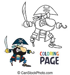 Pirate cartoon coloring page