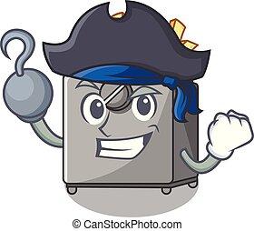 Pirate cartoon deep fryer in the kitchen vector illustration