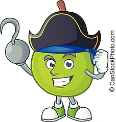 Pirate cartoon guava mascot on white background