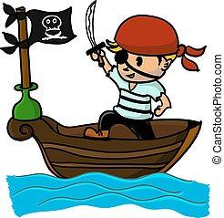 pirate cartoon on boat at sea