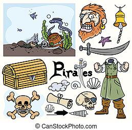 Pirate Cartoon Vectors Set