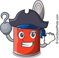 Pirate character canned food isolated on cartoon vector...